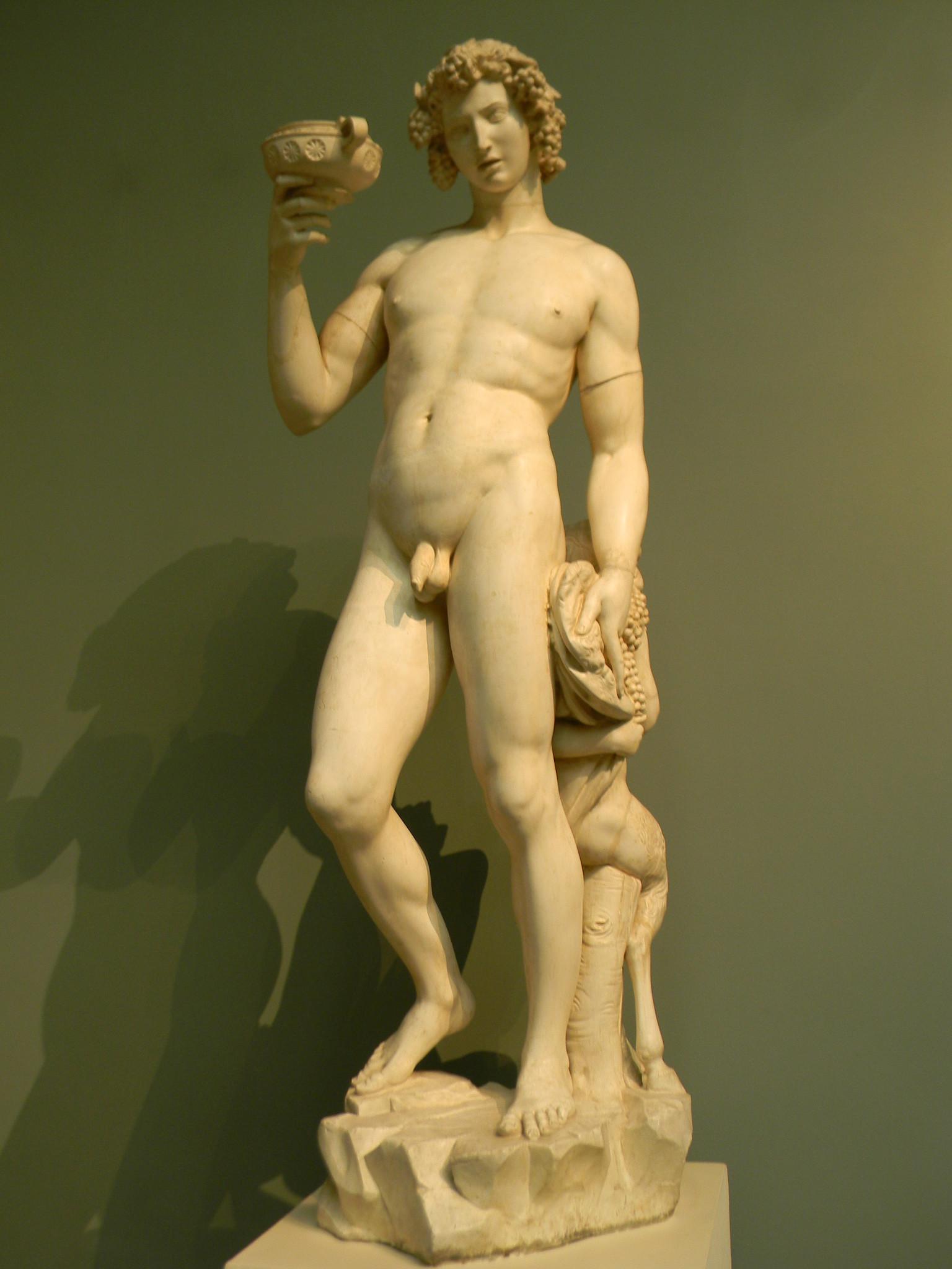 Древнеримский бог «Вакх». Микеланджело Буонарроти. Слепок. Подлинник - мрамор. Национальный музей, Флоренция, Италия