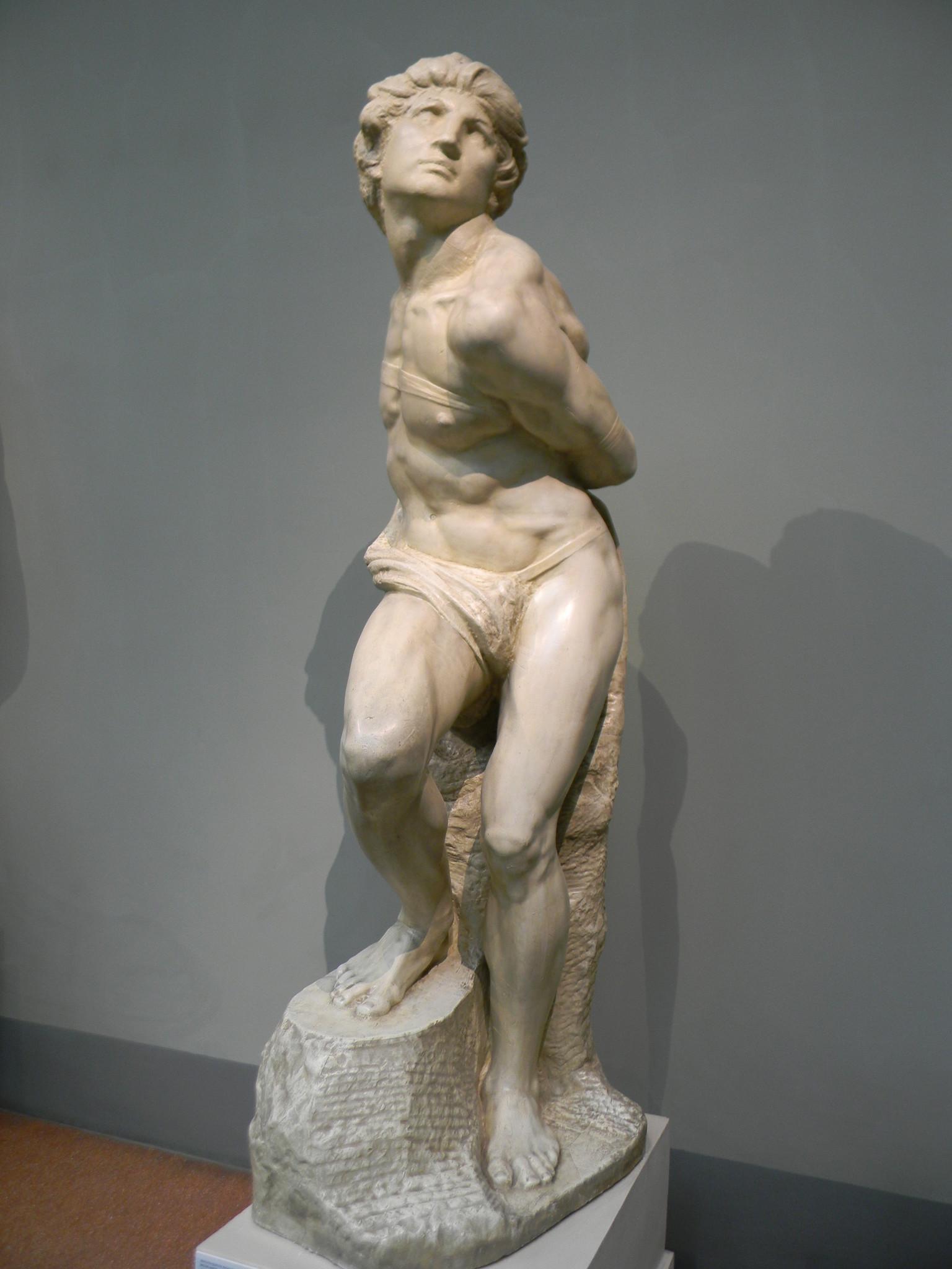 «Связанный раб». Микеланджело Буонарроти. Слепок. Подлинник - мрамор. Лувр, Париж, Франция