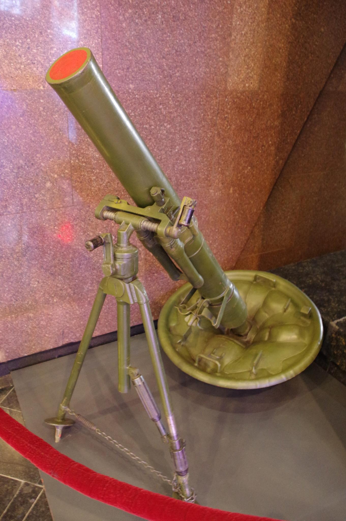 107-мм горно-вьючный полковой миномёт образца 1938 года в экспозиции Музея Победы