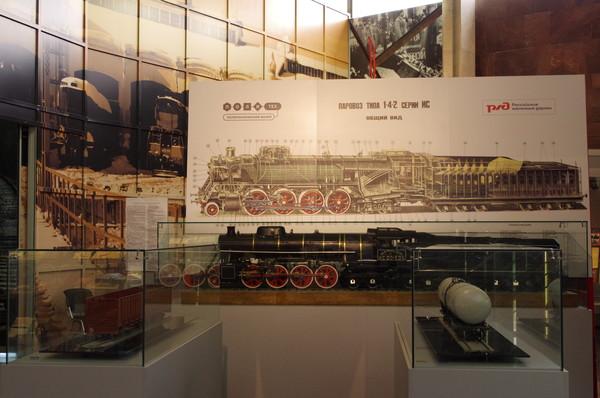 Схема и модель паровоза ИС20-89. Музей Московской железной дороги (улица Кожевническая, дом 2)