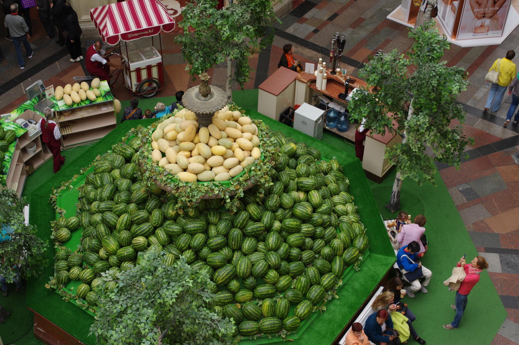 Фонтан, заполненный арбузами и дынями в ГУМе