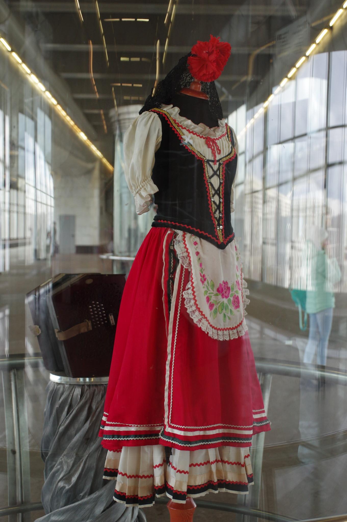 Выставка костюмов и музыкальных инструментов Ансамбля песни и танца имени Семёна Дунаевского на станции метро «Воробьевы горы»