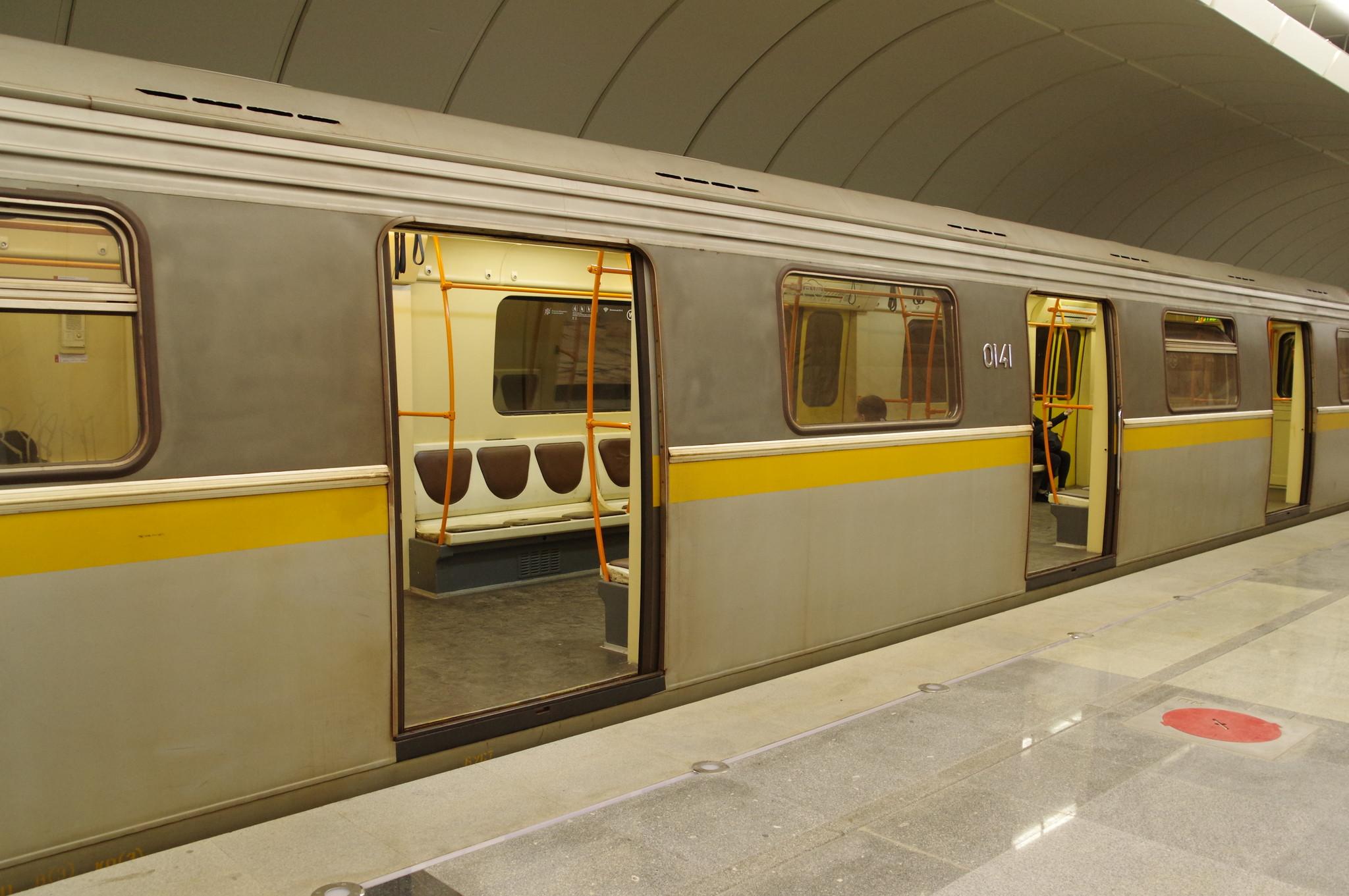 Вагоны модели 81-721.1 «Яуза» № 0141 Московского метрополитена на Люблинско-Дмитровской линии