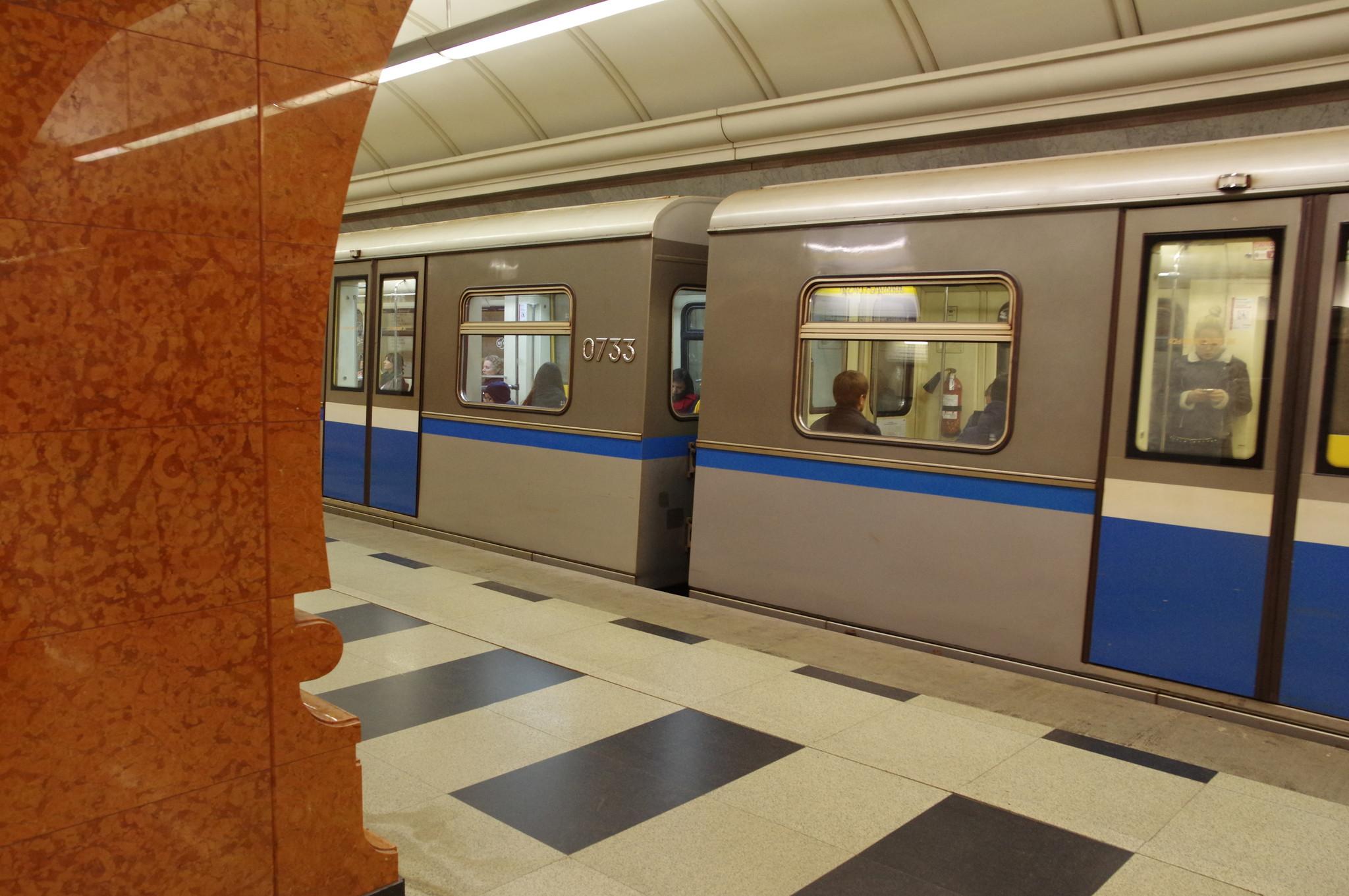 Вагон 81-741.1 «Русич» № 0733 на станции «Парк Победы» Московского метрополитена
