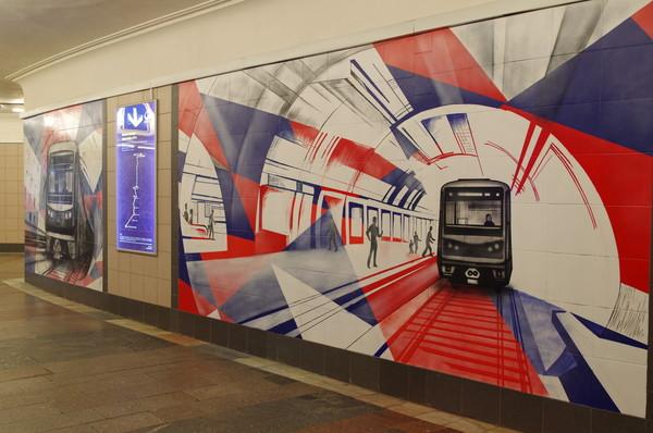 Граффити на стенах подуличного перехода станции «Лубянка» московского метрополитена