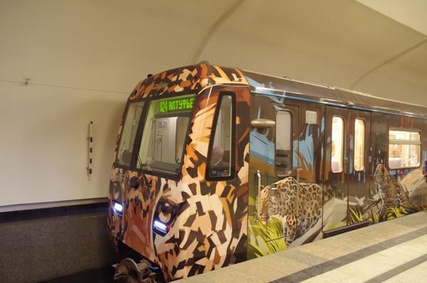 Поезд на станции «Алтуфьево», вид со стороны вагона 37166 (с леопардом)