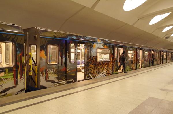 Вагон 30490 именного поезд «Полосатый экспресс — 2» Московского метрополитена
