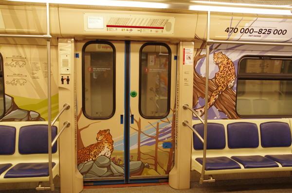 Рисунок леопарда в салоне вагона именного поезд «Полосатый экспресс — 2» Московского метрополитена