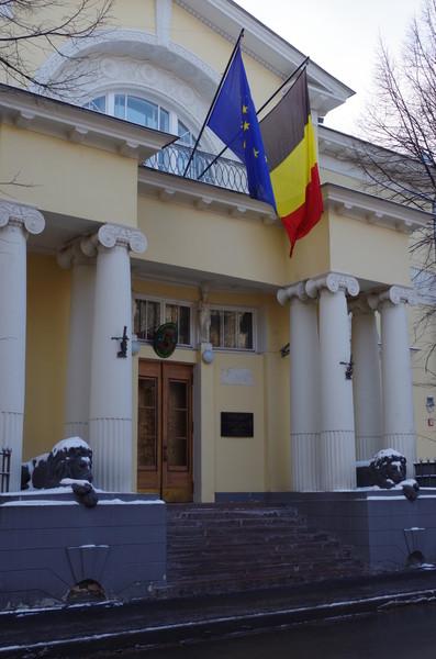 Особняк купца В.Н. Грибова (Хлебный переулок, дом 15). С послевоенного времени в доме располагается резиденция посла и бюро военного атташе королевства Бельгии