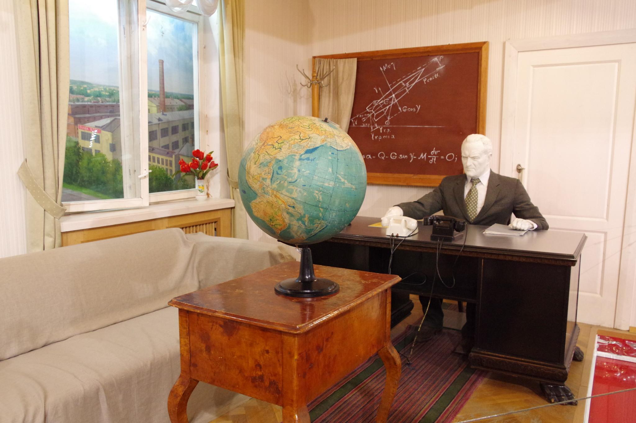 Интерьер кабинета-камнаты отдыха Главного конструктора С.П. Королёва на предприятии ОКБ-1. Мемориальный музей космонавтики в Москве