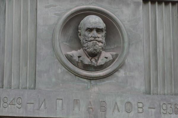 Бронзовый барельеф с изображением физиолога Ивана Петровича Павлова расположенный между пилонами фасада Российской государственной библиотеки