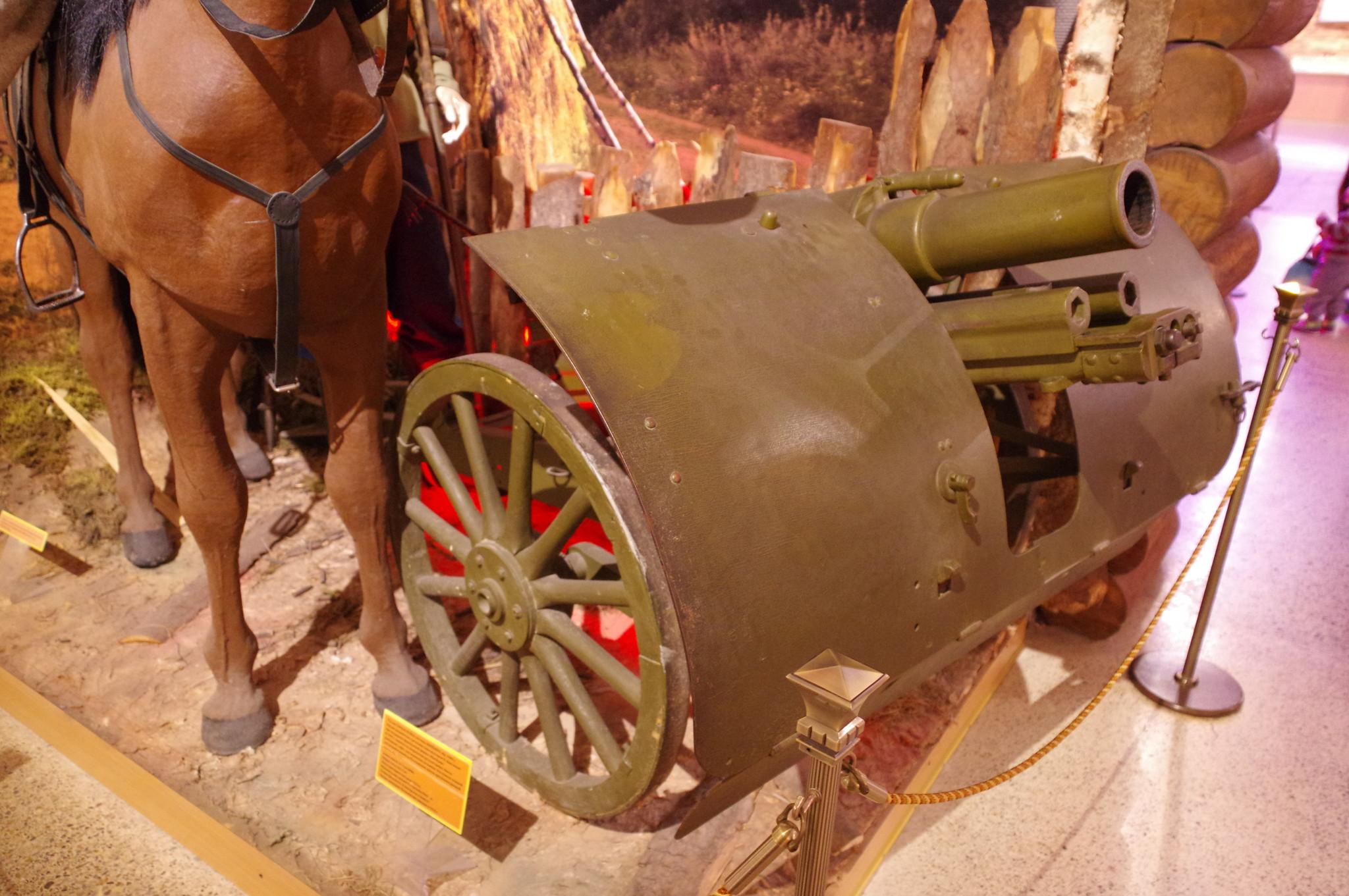 76-мм горная пушка образца 1909 года системы Шнейдера в экспозиции Центрального музея Вооружённых сил Российской Федерации