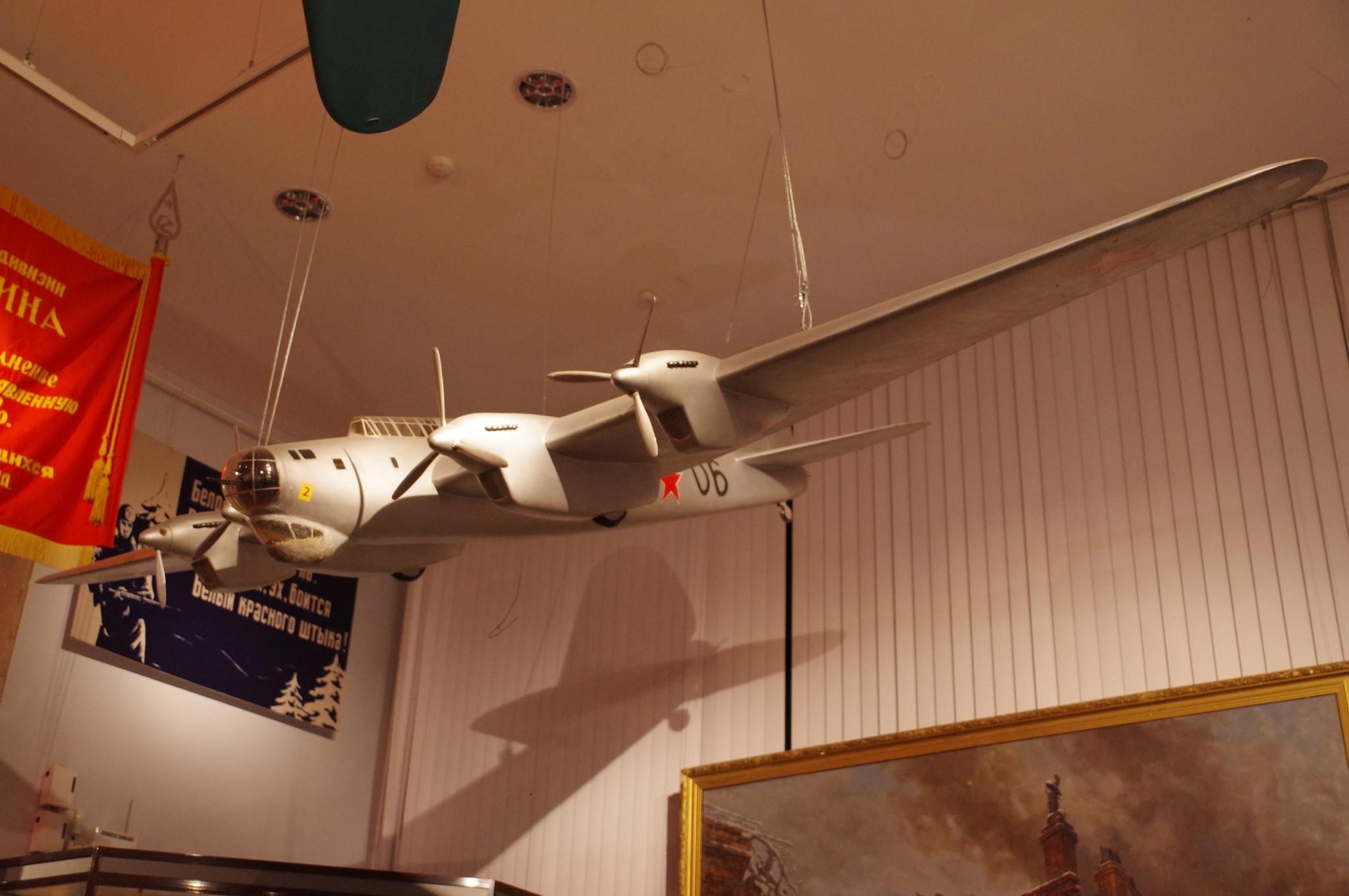 Дальний тяжёлый бомбардировщик ТБ-7 (Пе-8). Модель. Масштаб 1:10 (Центральный музей Вооружённых сил Российской Федерации)