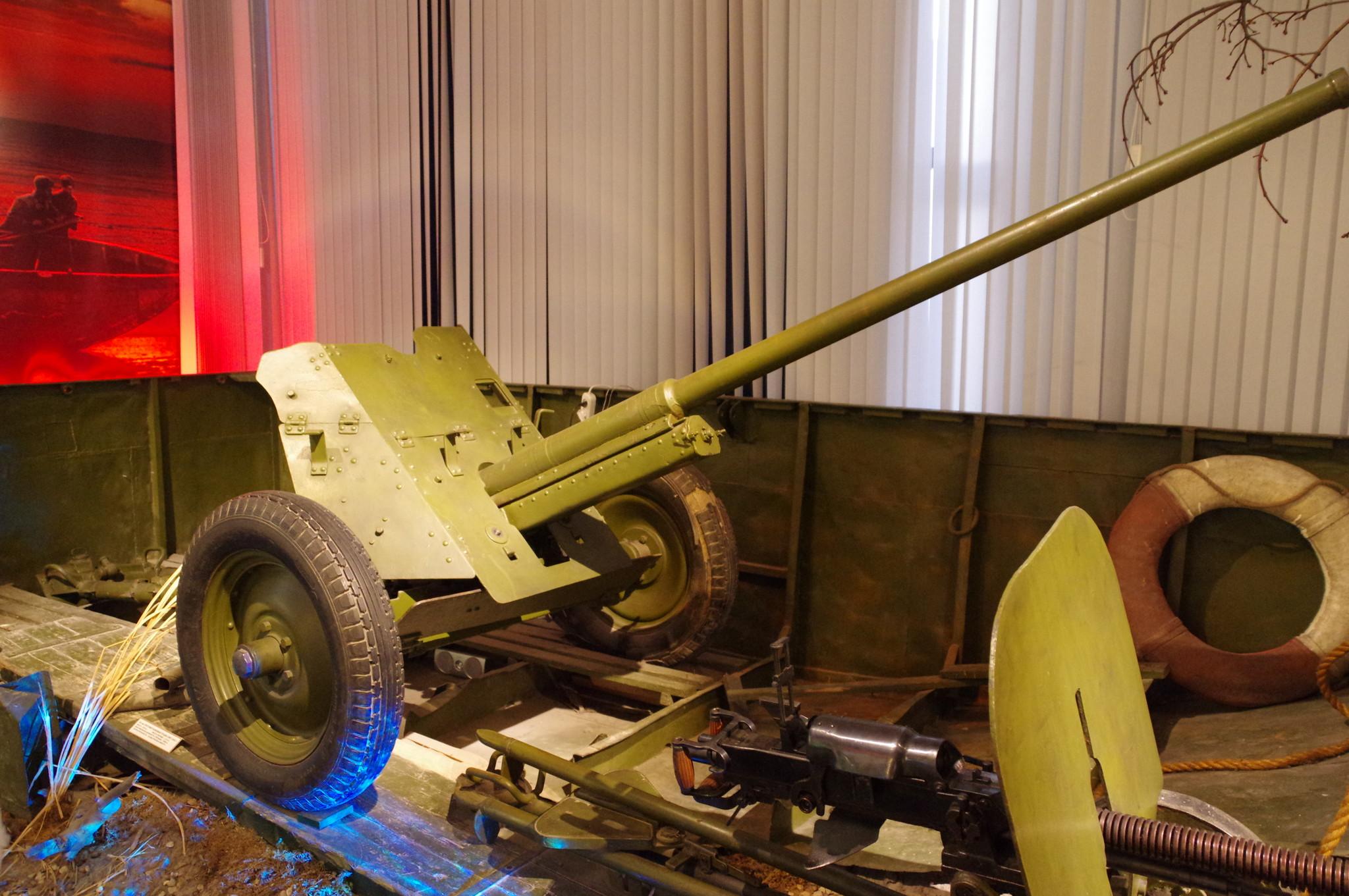 45-мм противотанковая пушка образца 1942 года. Центральный музей Вооруженных сил Российской Федерации (улица Советской Армии, 2)