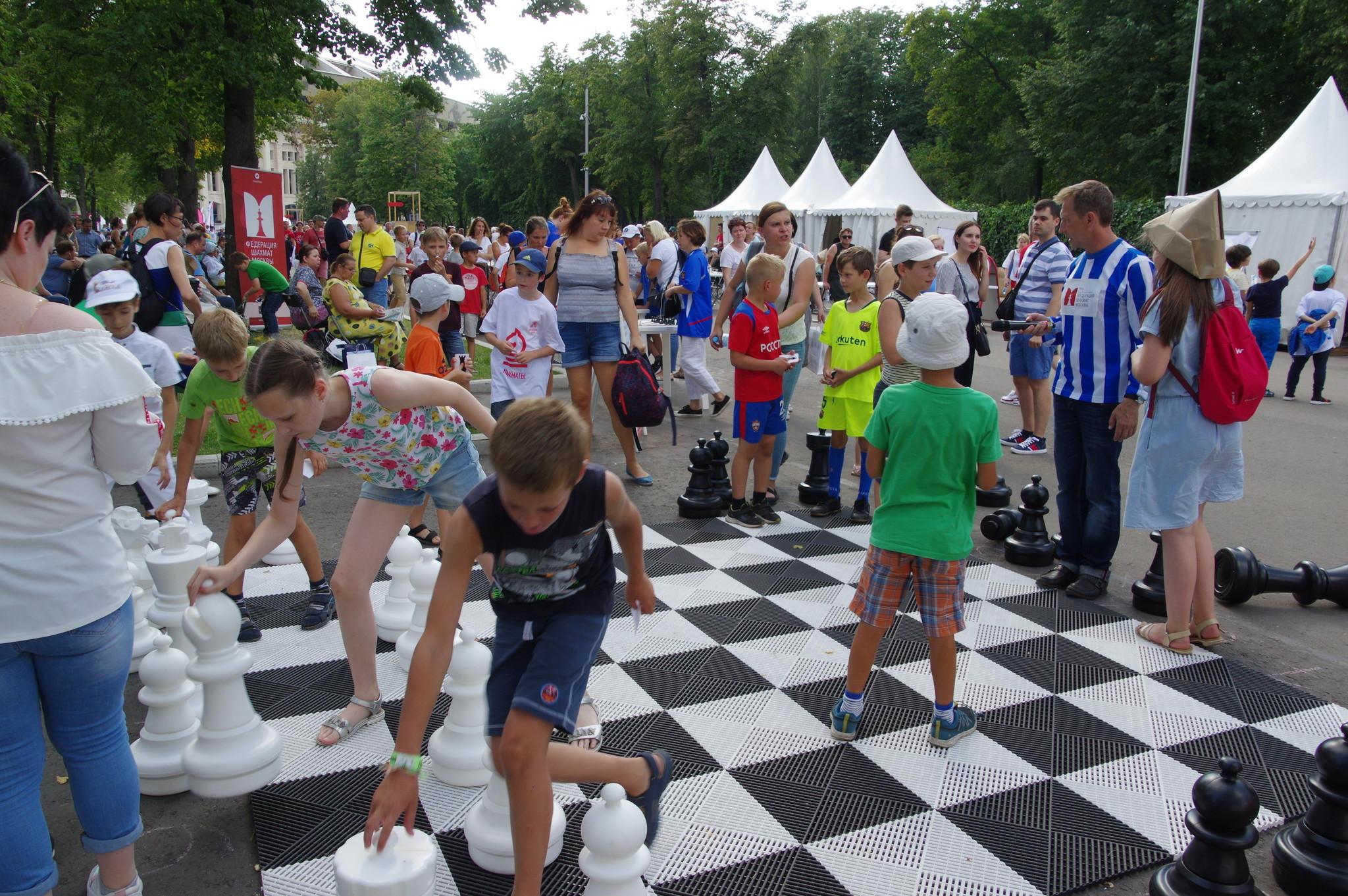 Шахматный турнир под открытым небом в Лужниках