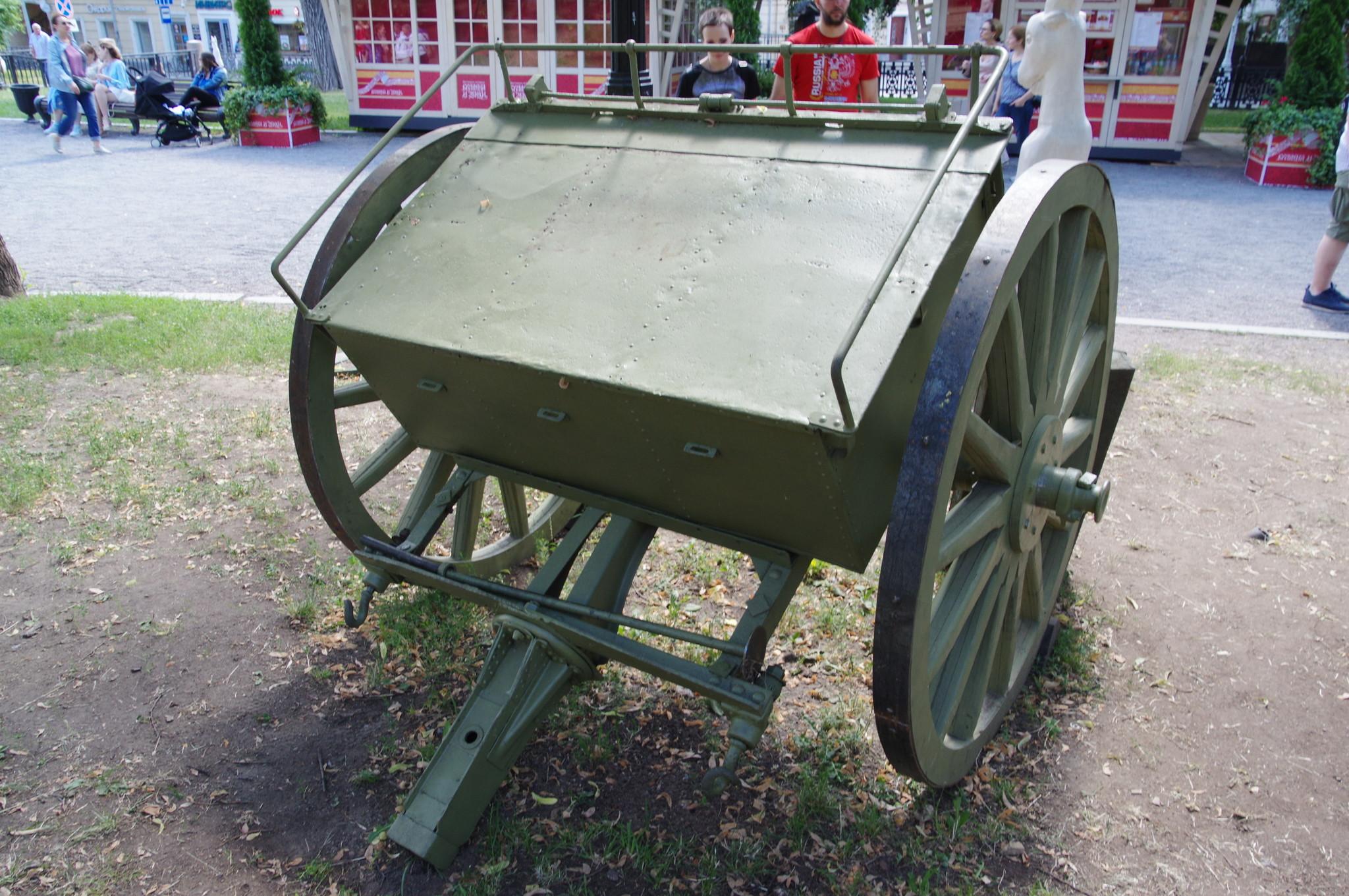 76,2-мм пушка образца 1902 года перевозилась с помощью передка четвёркой лошадей или мехтягой