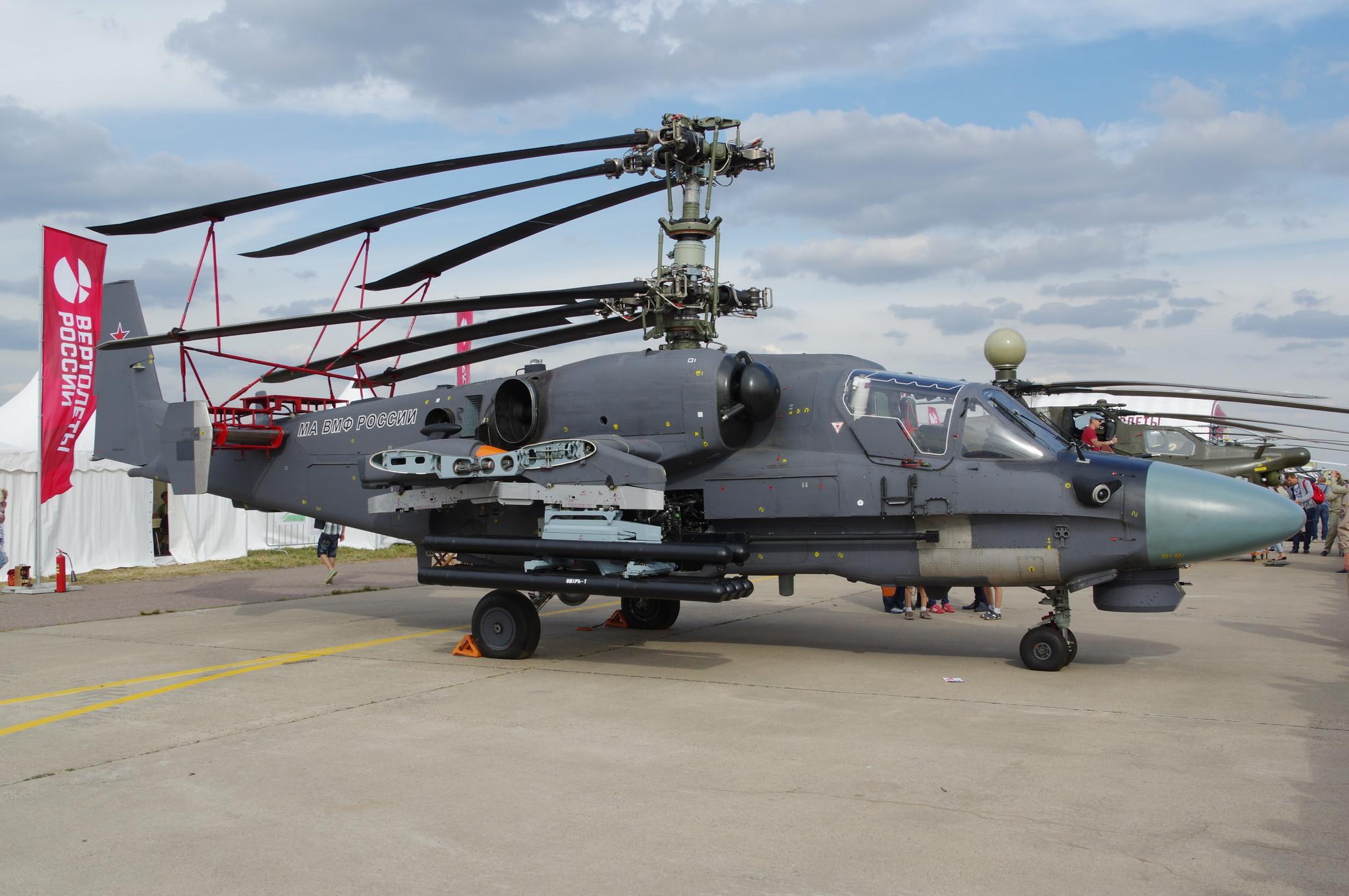 На МАКС-2015 впервые публично представили палубную версию Ка-52К (неофициальное название «Катран») ударного вертолёта Ка-52 «Аллигатор»