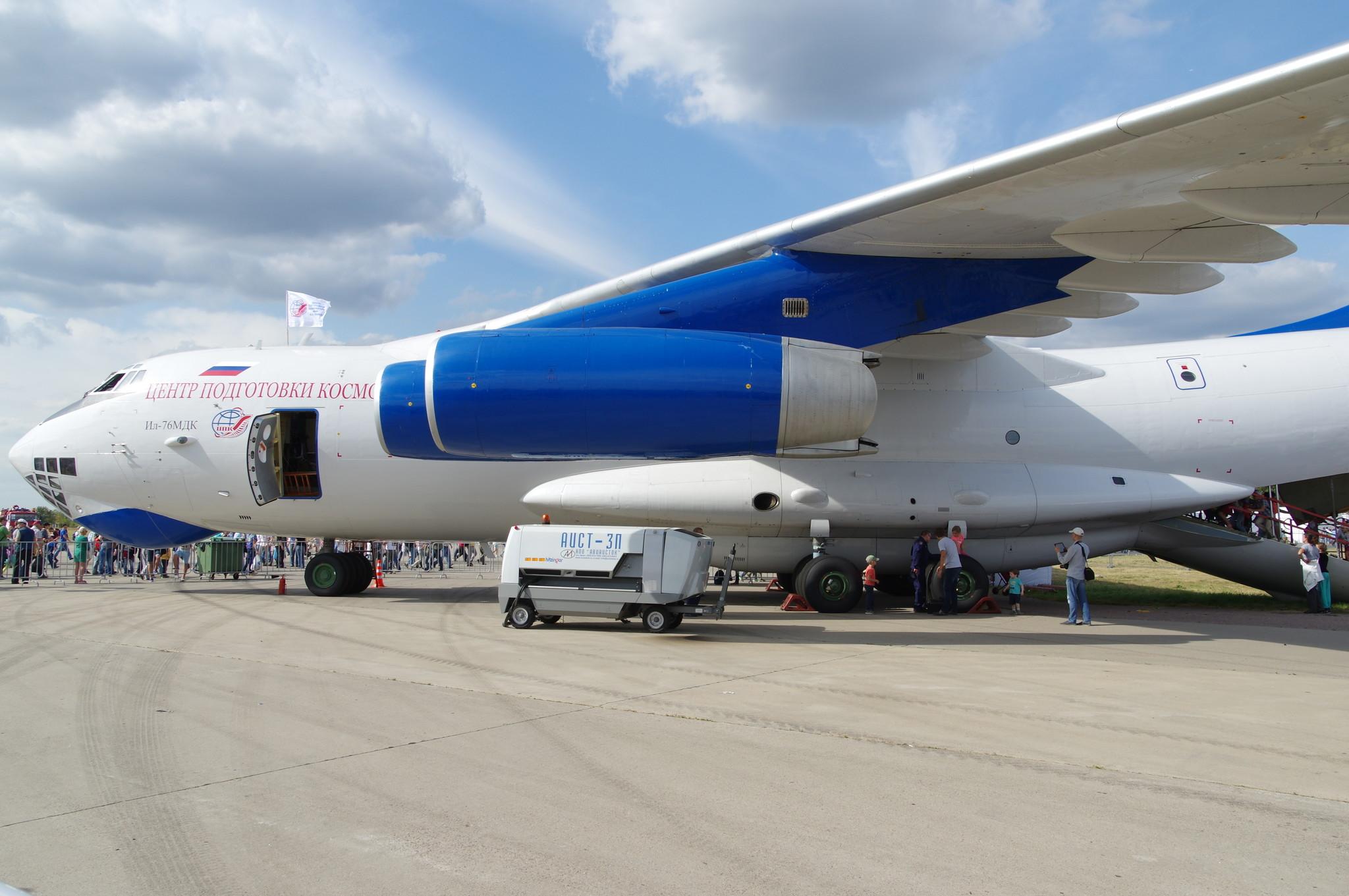 На международный авиасалон МАКС-2015 в Жуковском прилетел уникальный самолёт Ил-76 МДК