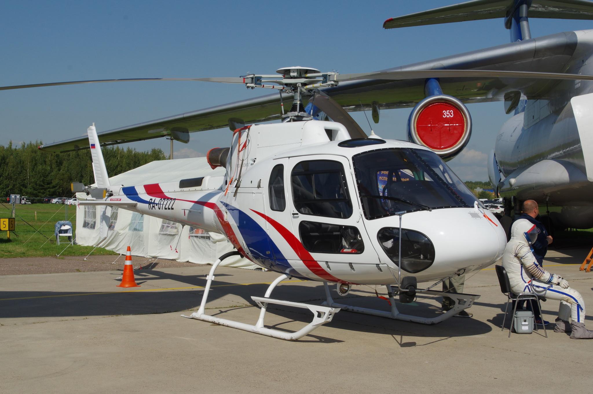 Вертолёт Eurocopter AS-350B3E Центра подготовки космонавтов (ЦПК) им. Ю.А. Гагарина на МАКС-2019