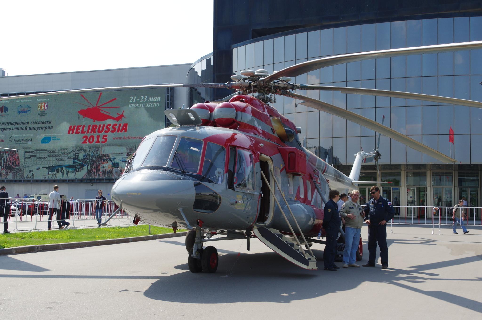 8-я Международная выставка вертолётной индустрии HeliRussia-2015. Средний вертолёт Ми-8АМТ в конфигурации VIP