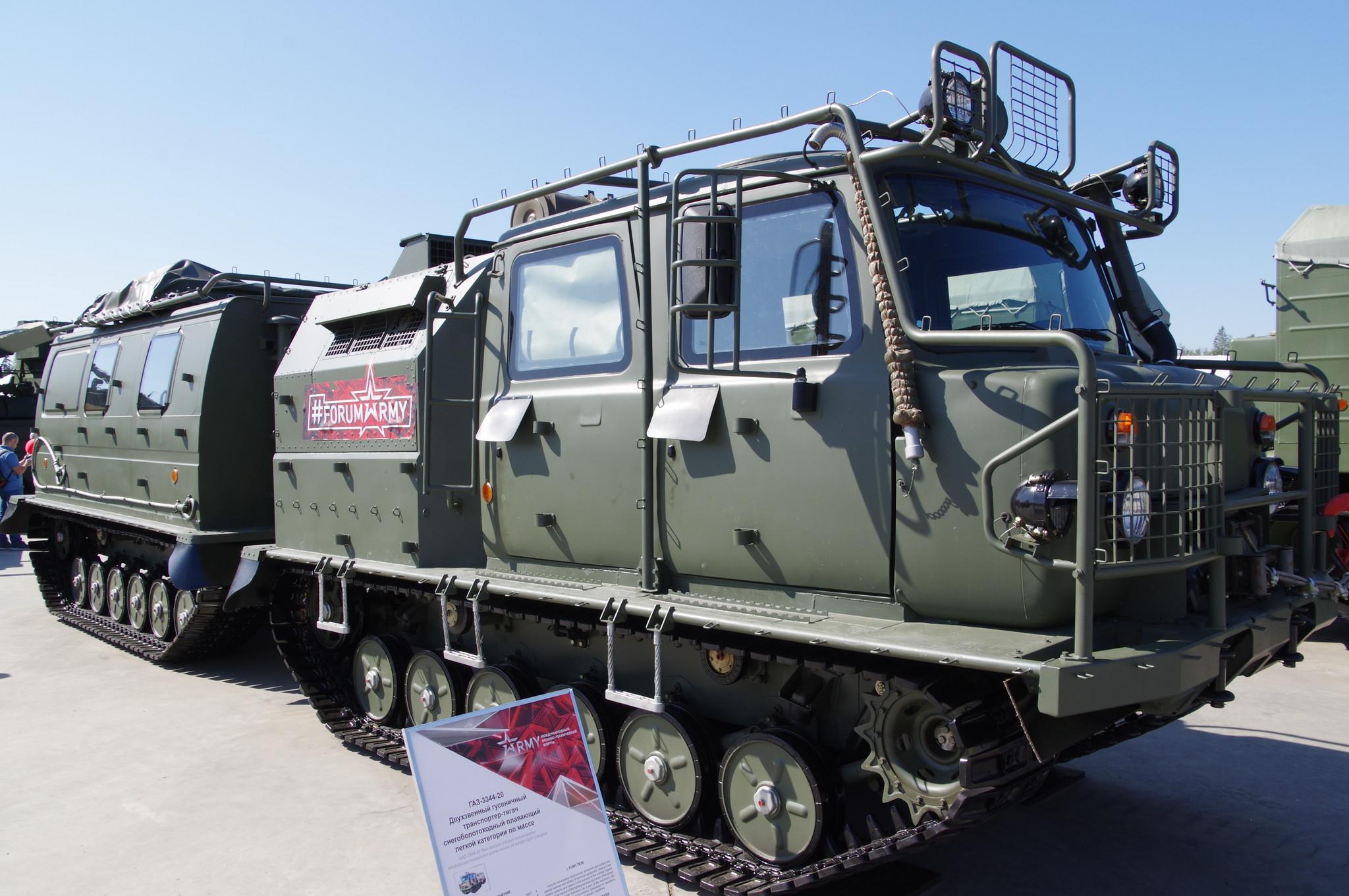 ГАЗ-3344-20. Двухзвенный гусеничный транспортёр-тягач снегоболотоходный плавающий лёгкой категории по массе
