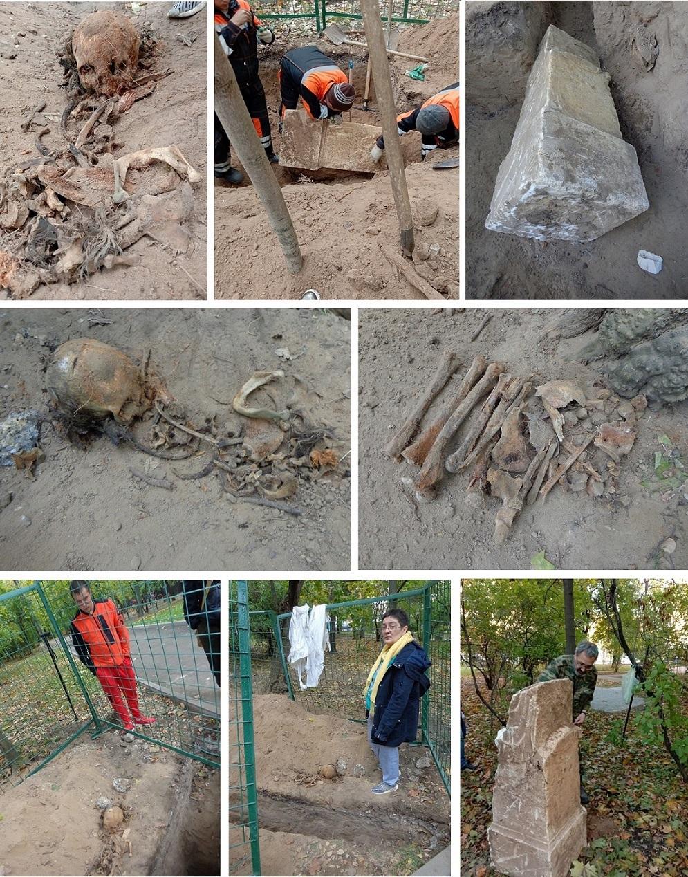"""Чиновники уничтожают старинные могилы в сквере, разбитом на месте Солдатского кладбища """"Арбатец"""". H-565"""