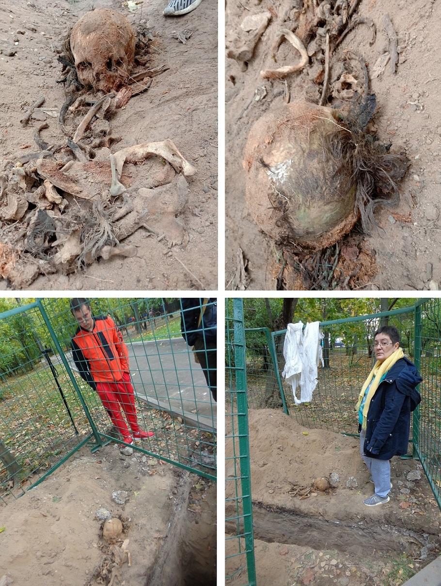 """Чиновники уничтожают старинные могилы в сквере, разбитом на месте Солдатского кладбища """"Арбатец"""". H-581"""