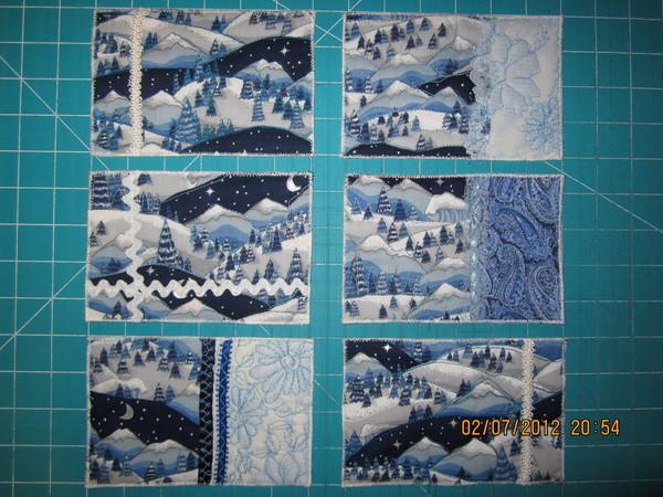 Текстильные открытки. (Синий).