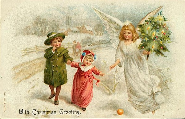 Новогодние ретро открытки в винтажном стиле.