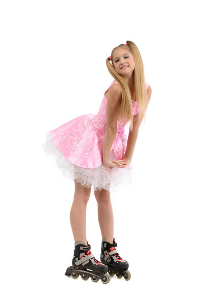 Young Woman On Roller Skates Skinny Stock Photo 215389672.