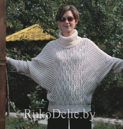 модные свитера спицами. вязание спицами кофты летучая мышь фото.