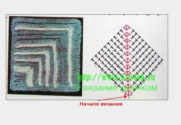 Третий способ .  Квадрат вяжется от угла . расширение такого квадрата...