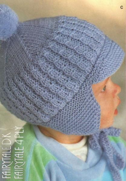 Схема вязания шапки капор детской для мальчиков.