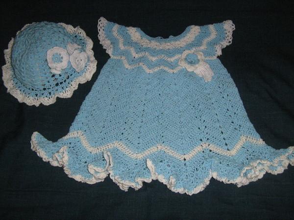 Белое платье с круглой кокеткой вязание крючком