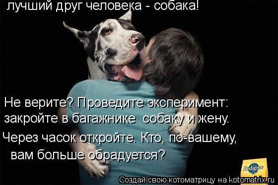 Собака есть единственное животное, верность которого непоколебима.
