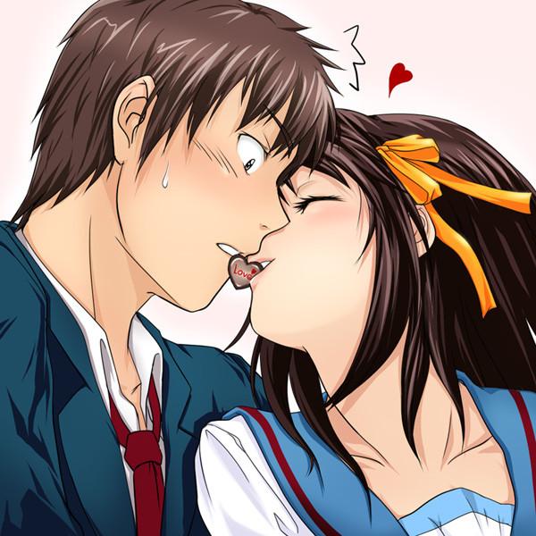 Картинки прикольные с аниме с поцелуями, днем