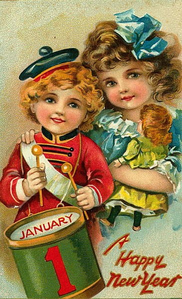 Ретро-открытка - мальчик и девочка.  Увеличить.