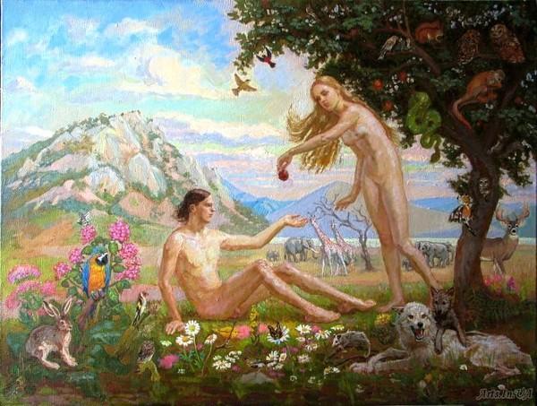 менее, есть картинки адам и ева в райском саду меня день
