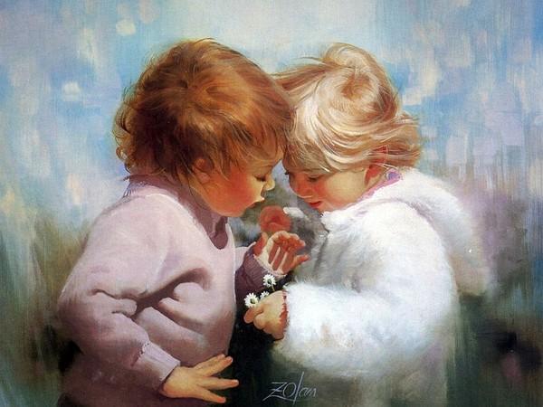 Мальчик дарит цветы девочке картинки