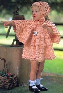вязаное крючком платье для девочки, чем вязать кофту.