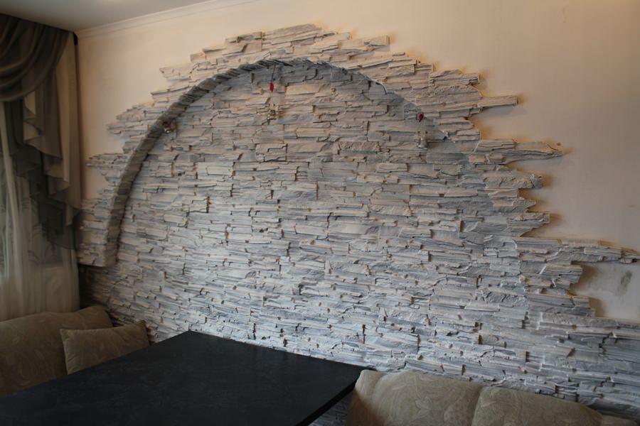 Декоративный камень в интерьере кухни 6. Декоративный камень для отделки кухни 6.